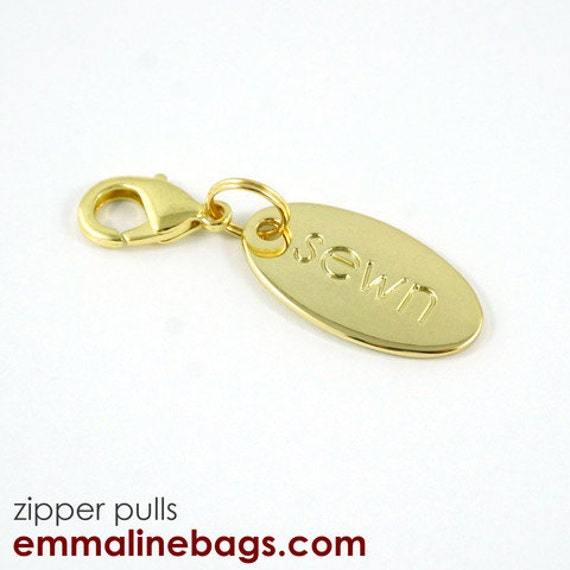 Gold Zipper Pull With Ring