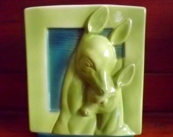 Cool mid century planter or vase, chartreuse green and teal, deer and fawn, 1950s