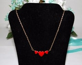 Girls Red Triple Heart Necklace, small 13 inch choker, 1990s, girls birthday gift, gift for her
