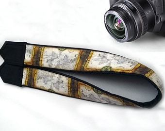 Dslr Camera Strap. Vintage Map Camera Strap.  Gifts For Everyone. Accessories