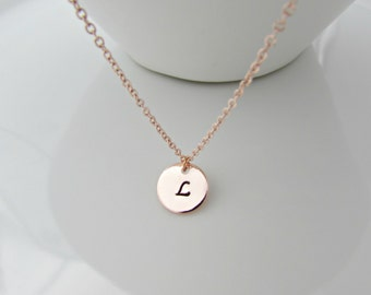 Rose Gold Necklace, Rose Gold Initial Necklace, Bridesmaid Gifts, Gifts for Girls, UK Seller, BFF Gift, Sister Gifts, Rose Gold Necklace