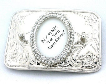 40x30 40mm x 30mm Oval Cab Silverplated Rectangle Floral Belt Buckle Mounting