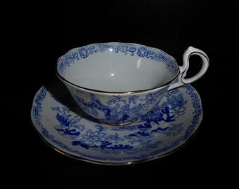 Vintage Royal Albert CROWN China Teacup and Saucer Oriental Pagoda CIrca 1925-27