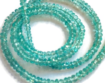 Apatite faceted rondelles, AAA grade.  Select a size:  3.25mm, 3.5-3.75mm