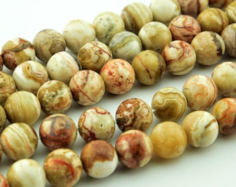 """15""""  Natural  Crazy  Agate   Lace  Agate  Loose Bead  , 12mm 10mm 8mm"""
