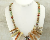 African Opal and Quartz Gemstone Bead Statement Necklace, Personalize Bead Necklace, Gemstone Artisan Jewelry (2543)