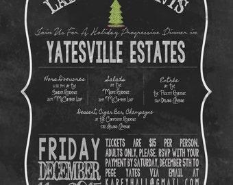 Chalk Board Style Christmas Office Company Neighborhood Party Invitation for a Progressive Dinner