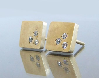 Diamond Stud Earrings, 14k Gold Earrings, Gold Stud Earrings, Square earrings, Diamond Earrings, Bridal Earrings, Yellow Gold, Rose Gold