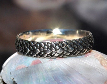 Silver Stacking Ring - Sterling Silver Ring - Sterling Silver Band - Silver Band - Dragonskin Ring - Snakeskin Ring - Silver Snake Ring