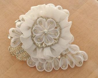 Flower rhienstone applique for wedding belt, bridal sash , headpiece