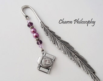 Camera Bookmark - Photographer Gift - Unique Bookmarks - Media Teacher Gifts - Tibetan Silver Charm Bookmark