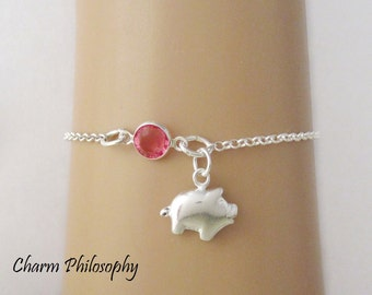 Pig Bracelet or Anklet - Personalized Birthstone Bracelet - 925 Sterling Silver - Rolo Chain - Dainty Minimalist Bracelet