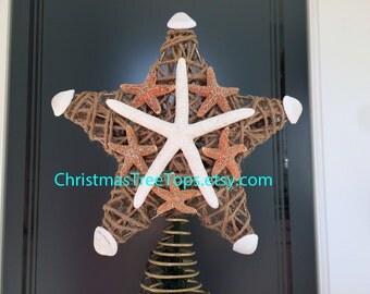 Coastal Beach Christmas Tree Topper Starfish Christmas Tree