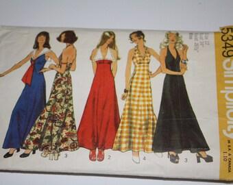 Simplicity Pattern 5349 Vintage Halter Dress 1972