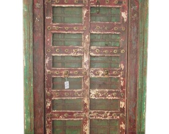 Mogulinterior Antique Doors India Hand Carved Teak Jaipur red green brass floral Doors & Frame Spanish Mediterranean 18c Original Old World