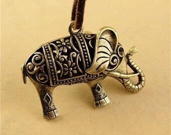 5 Hollow Elephant Charms, 52x36x14MM Brass Tone Elephant Pendants A2094