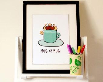 Mug of Pug Illustrated A4 Print
