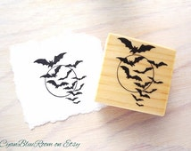 Halloween Bats Motif Rubber Stamp, Trick or Treat Themed Stamp, Wood Block Mounted.