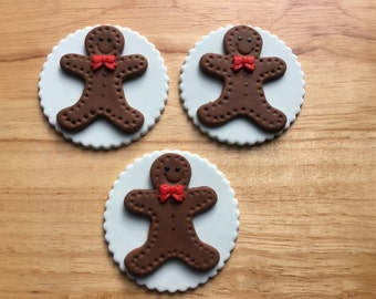 Gingerbread Man Cupcake Toppers