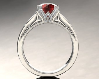 Ruby Engagement Ring Ruby Ring 14k or 18k White Gold Matching Wedding Band Available SW3RUBYW