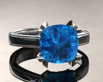 Blue Topaz Engagement Ring Cushion Cut Blue Topaz Ring 14k or 18k White Gold Matching Wedding Band Available W26SBU2W