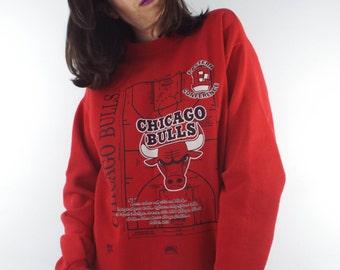 Vintage 90s Chicago Bulls Red Court Design Sweatshirt