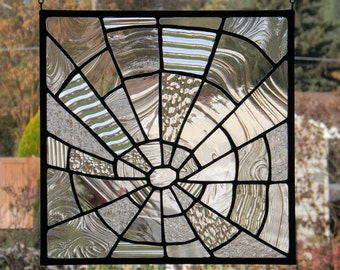 Stained Glass Spider Web Clear Textured Glass Handmade Original Window Panel Free Domestic Shipping