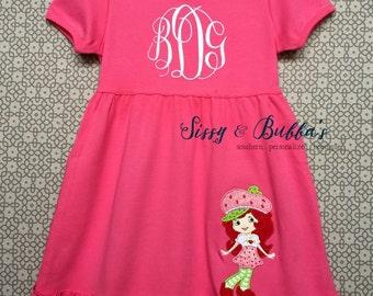 Personalized Strawberry Shortcake Appliqué Dress, monogram, initials, short cake, pink, girl, shirt, custom, green
