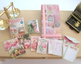 dollhouse picture board pink roses cards letters magazine 12 th scale miniature