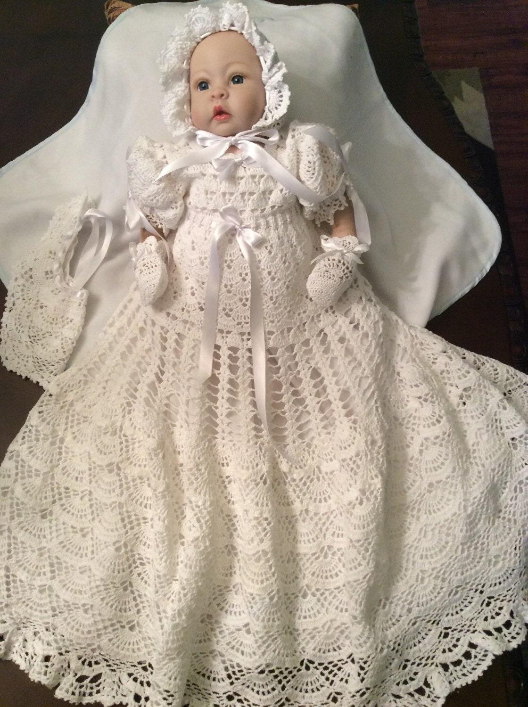 Hand Crochet Christening Gown Blessing Gown Baptism Dress