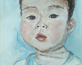 "Custom Child Watercolor Portrait, Still Life, Original Fine Art Painting by Aeris Osborne, 8""x 10"", Photo Painting"