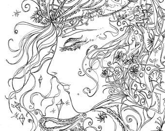Girl in Dream Printable Adult Coloring Page, Feminine, Crystals, Instant download, Original Ink Pen Drawings by Aeris Osborne