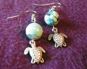 "Silver plated Turtle charm with Jasper Blue ""world"" earrings,"