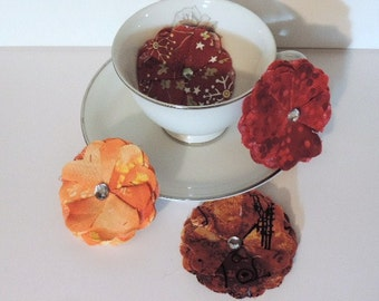 Fabric flowers with rhinestone centers in fall colors - 3 inch - set of 4