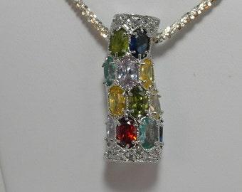 Estate Sterling Silver Multi-Gemstone Pendant