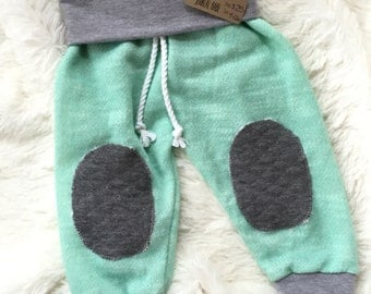 Mint Drawstring Pants with Grey Cuffs and Quilted Knee Patches