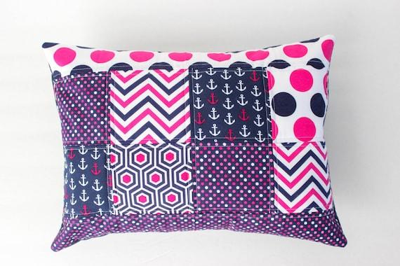 Navy And Pink Decorative Pillows: Nautical Pillow Cover Navy And Hot Pink Nursery Pillow Cover
