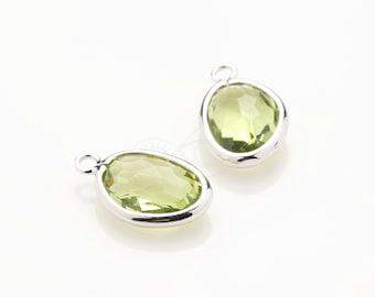 1082092 / Apple Green / Rhodium Plated Brass Framed Glass Pendant  9.6mm x 15.3mm / 0.6g / 2pcs