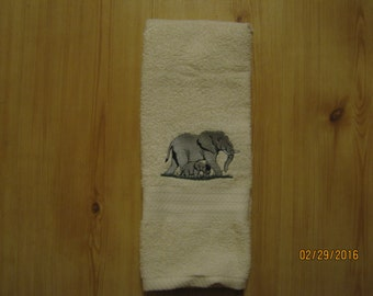ELEPHANT Hand Towel, Cream/Ivory Color