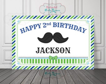 Navy and Blue Little Man Birthday Backdrop or Poster - Mustache Party Backdrop