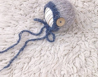 SALE! Baby boys knit hat, Photo prop, Newborn knit hat, Button coconut