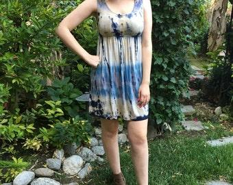 Tie Dye Dress, Tank Dress, Summer Dress, Tunic Dress, Empire Dress, Sleeveless Dress, Blue, Beige, w/ Black, S,M,L,XL, 2X 3X , Scoop Neck