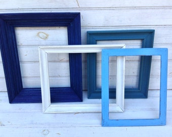 Gallery Wall, Picture Frame Set, Blue Frames,  Shabby Chic Home Decor, Playroom Wall Collage, Frame Set,  NO GLASS (CB053.1)