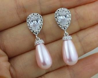 drop pearl earring blush pink earring pink bridal earring blush earring bridesmaid earring