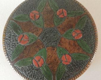 Art Nouveau Round Wood BOX Signed LINE Floral Top Antique