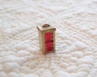 Vintage Bakelite Cherry Red Mini Dice Charm Brass Cage