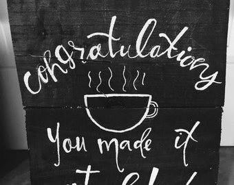 WOOD SIGN: congratulations 9x12 in.