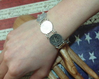 "BR80 Vintage Antique Estate High Content Silver .835 All Coins Links Bracelet ""50 Stotinki"" from years 1912-13 Jewellery Jewelry"