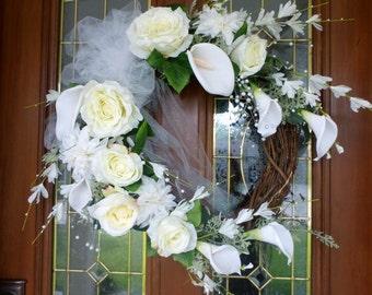 Elegant Calli Lilly Wreath - White Wedding Wreath - Wedding decor - front door wreath - Wedding flowers - Wedding gift