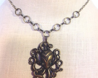 Steampunk octopus pendant brass necklace
